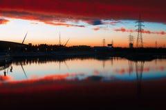La lueur de coucher du soleil du lac de guowu Image libre de droits