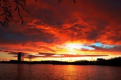 La lueur de coucher du soleil du lac de guowu Images libres de droits