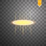 La lueur ronde d'or rayonne la scène de nuit avec des étincelles sur le fond transparent Montrez la partie Étape de faisceau Port Photographie stock