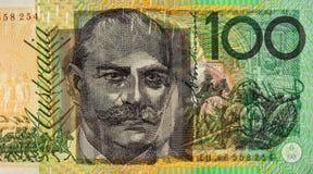 La lumière brillant par l'apparence de billet d'un dollar 100 imprime sur des les deux le Sid Image stock