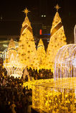 La lumière décorent beau sur la célébration 2017 d'arbre de Noël Photos libres de droits