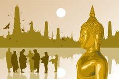 La lumière de Bouddha sur le fond de temple Photo libre de droits