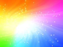 La lumière de pétillement de couleurs d'arc-en-ciel a éclaté avec des étoiles image libre de droits