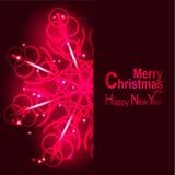 La lumière et les flocons de neige de carte de voeux de Noël dirigent le fond Images stock
