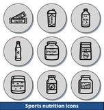 La lumière folâtre des icônes de nutrition Photographie stock