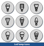 La lumière a mené des icônes de lampe Photos libres de droits