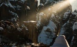 La lumière sainte dans Meteora photo libre de droits