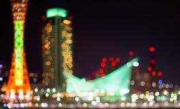 La lumière de Kobe Harbor Tower a brouillé Image libre de droits