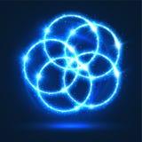 La lumière entoure les flashes abstraits de lampes au néon de vecteur Photos libres de droits