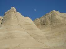 La luna abajo aquí y sube allí también Foto de archivo libre de regalías