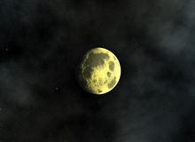 La luna amarilla en un espacio protagoniza fondos Imagen de archivo