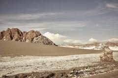 La Luna Chile Landscape Scenery de Valle De et formations de roche image stock