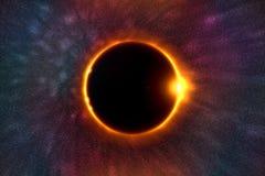La luna copre il sole in una bella eclissi solare Immagine Stock