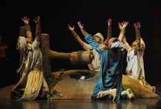 La luna del ballet de los pozos-Hui del desierto sobre Helan Imagen de archivo libre de regalías