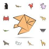 la luna del pesce ha colorato l'icona di origami Insieme dettagliato delle icone tirate animali di stile di origami a disposizion illustrazione vettoriale
