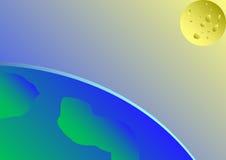 La luna e la terra Fotografia Stock Libera da Diritti