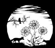 La luna e le siluette illustrazione vettoriale