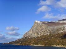 La luna en d3ia de la Coosh-Señal de la montaña fotos de archivo