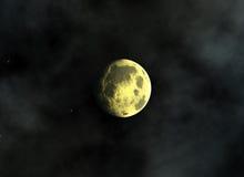 La luna gialla su uno spazio stars gli ambiti di provenienza Immagine Stock