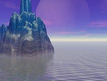 La luna grande y la isla Fotografía de archivo libre de regalías