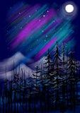 La Luna Llena con las colinas y los árboles resumen paisaje de la pintura Fotografía de archivo