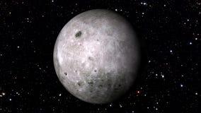 La Luna Llena con un fondo móvil del starfield, gira 360 grados ilustración del vector