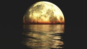 la Luna Llena 4k en el agua en la noche, refleja en el mar, escena de la ciencia ficción metrajes