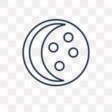 La luna organiza el icono del vector aislado en el fondo transparente, línea stock de ilustración