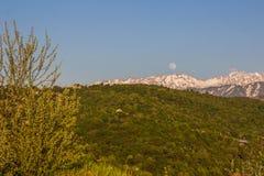 La luna piena sopra le montagne abbellisce vicino al picco di Talgar, Tien-SH Fotografia Stock Libera da Diritti