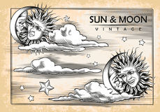 La luna, sole, nuvole Insieme degli elementi dell'annata Fotografie Stock