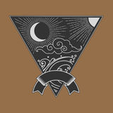 La luna, sole, si rannuvola il mare nel triangolo Immagine Stock Libera da Diritti