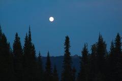 La luna sopra le montagne Fotografie Stock Libere da Diritti