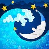 La luna y el océano stock de ilustración