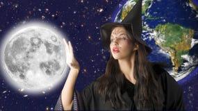 La luna y la bruja Foto de archivo libre de regalías