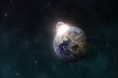 La lune effectue la terre illustration libre de droits