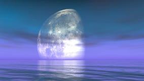 la lune 4k met réaliste en phase dans l'eau, timelapse de la lune passant par ses phases