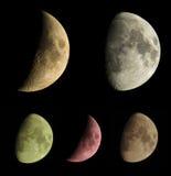 La lune met la collection en phase Photographie stock libre de droits