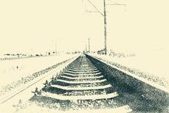 La lunghezza della strada ferrata Immagini Stock