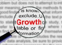 La lupa redacta crecimiento Foto de archivo