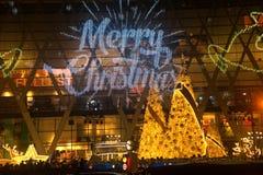 La luz adorna hermoso en la celebración 2017 del árbol de navidad Fotos de archivo libres de regalías