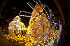 La luz adorna hermoso en la celebración 2017 del árbol de navidad Imagen de archivo