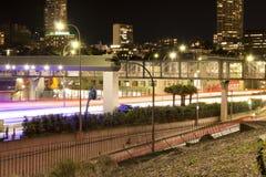 La luz arrastra la foto larga de la exposición del muelle Sydney de Cowper Imagenes de archivo