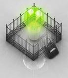 La luz de bulbo verde con el candado cerró concepto de la cerca ilustración del vector