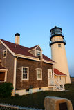La luz de la punta de la raza es un faro histórico en el bacalao de cabo, Massachusetts imagen de archivo libre de regalías