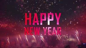 La luz de los fuegos artificiales de la Feliz Año Nuevo señala por medio de luces detrás stock de ilustración