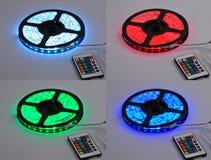 La luz de tres colores primarios llevó la correa, llevada encendiendo los accesorios de iluminación caseros de la iluminación de  Imagen de archivo
