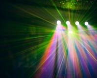 La luz del club del disco del color con efectos y el laser muestran Imagen de archivo