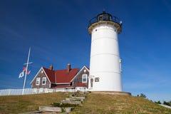 La luz del punto de Nobska es un faro situado en Cape Cod, los E.E.U.U. Fotos de archivo