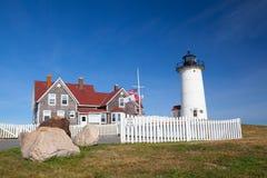 La luz del punto de Nobska es un faro situado en Cape Cod, los E.E.U.U. Imagenes de archivo