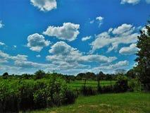 La luz del sol se nubla sobre una puerta y un prado Imagenes de archivo